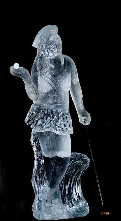 Ice Impressions, Golf Event Ice Sculptures, ice sculptures, ice carving, femal golfer ice sculpture