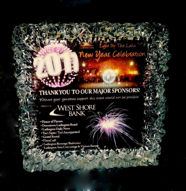 By Ice Impressions, ice-impressions.com, Ice Impressions Custom Special Event Ice Sculptures, Ice Impressions Custom Ice Sculptures, Ice Impressions Ice Sculptures, Ice Sign, New Years Eve Ball Drop Event.