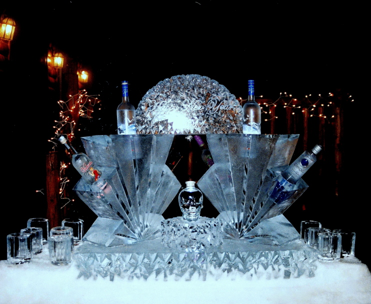 ice sculptures, ice sculpture, ice crarving, bottle chiller ice sculpture